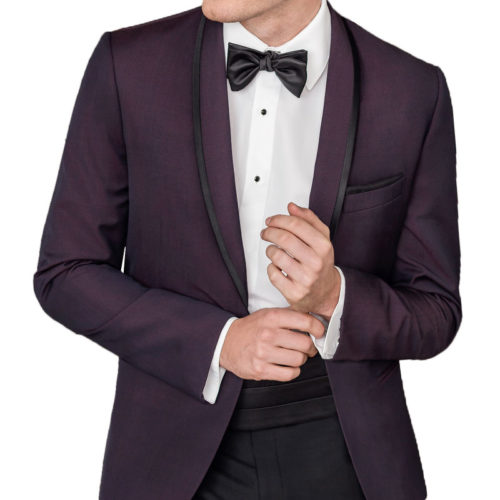 plum tip top tux trimmed shawl tuxedo jacket