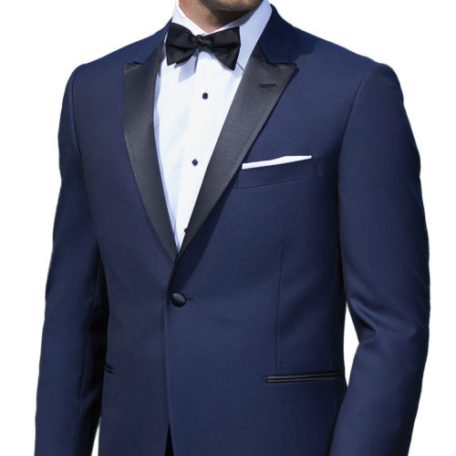 French Blue Ike Behar Tuxedo Jacket