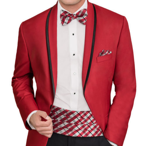 red tip top tux trimmed shawl tuxedo jacket