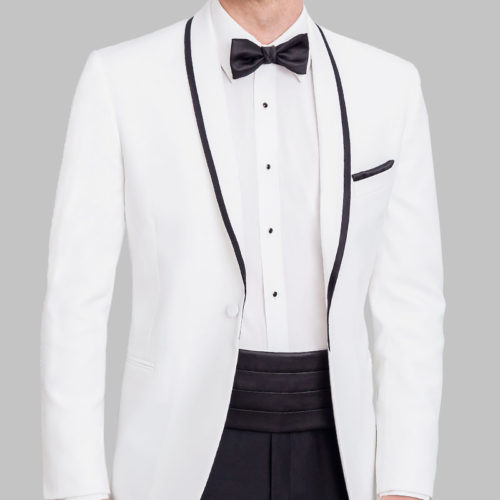 white tip top tux trimmed shawl tuxedo jacket