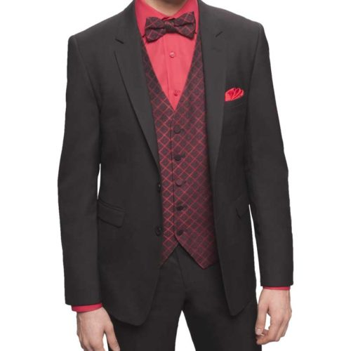 black executive suit with red shirt and red accents accessories