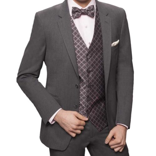 charcoal executive suit with grey accents accessories and white shirt