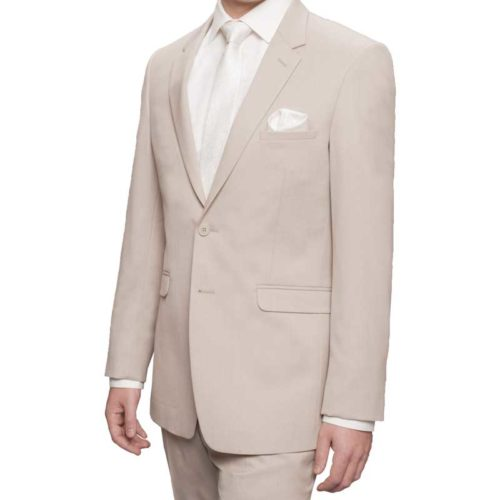 tan executive suit with white shirt and accessories