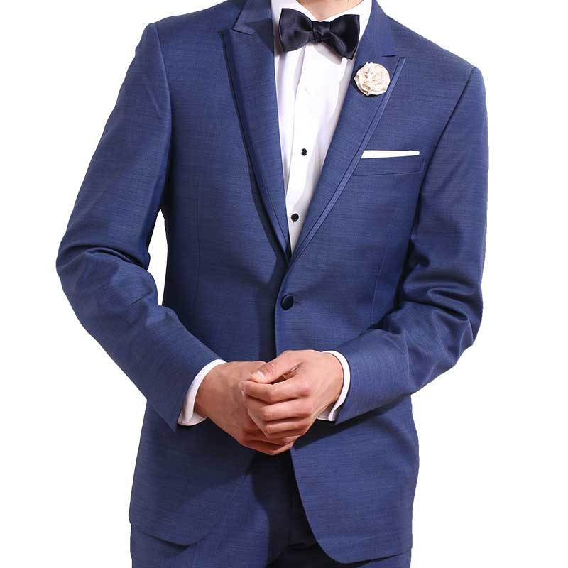 ike behar slate blue peak lapel tuxedo jacket