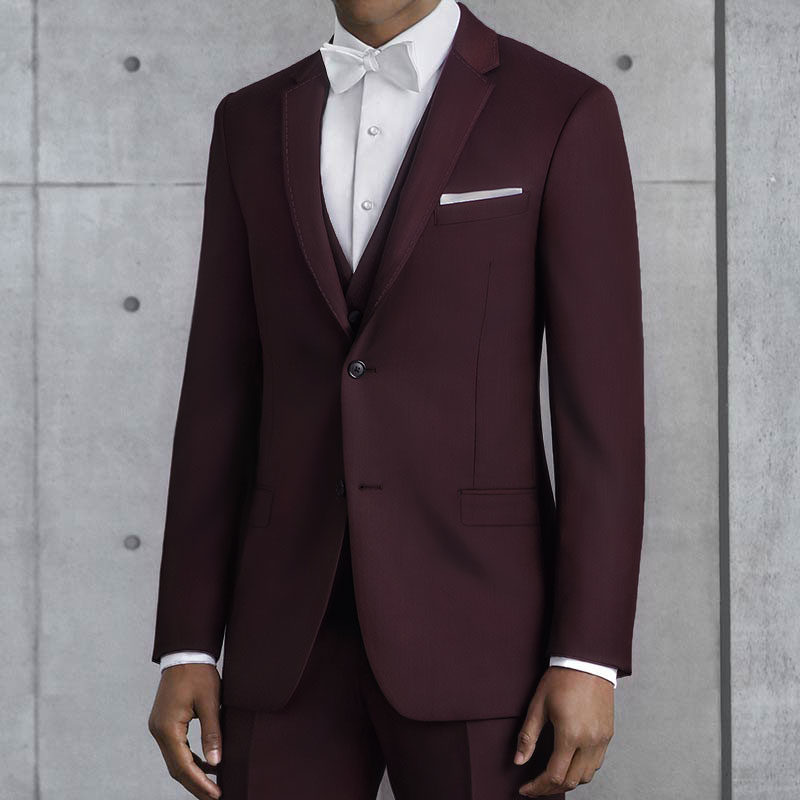burgundy kenneth cole pick stitched suit
