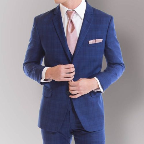 savvi black label cobalt blue plaid suit